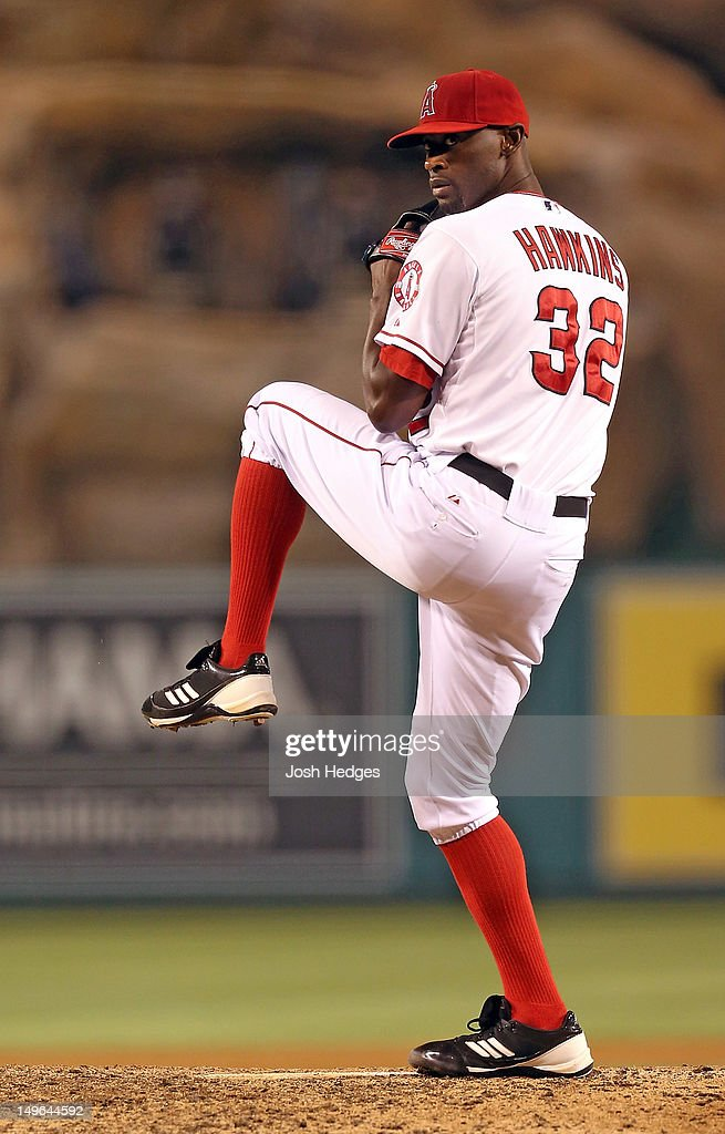 LaTroy Hawkins of the Los Angeles Angels of Anaheim pitches against the Tampa Bay Rays at Angel Stadium of Anaheim on July 28 2012 in Anaheim...