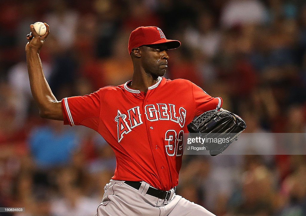 LaTroy Hawkins of the Los Angeles Angels of Anaheim throws against the Boston Red Sox at Fenway Park on August 22 2012 in Boston Massachusetts