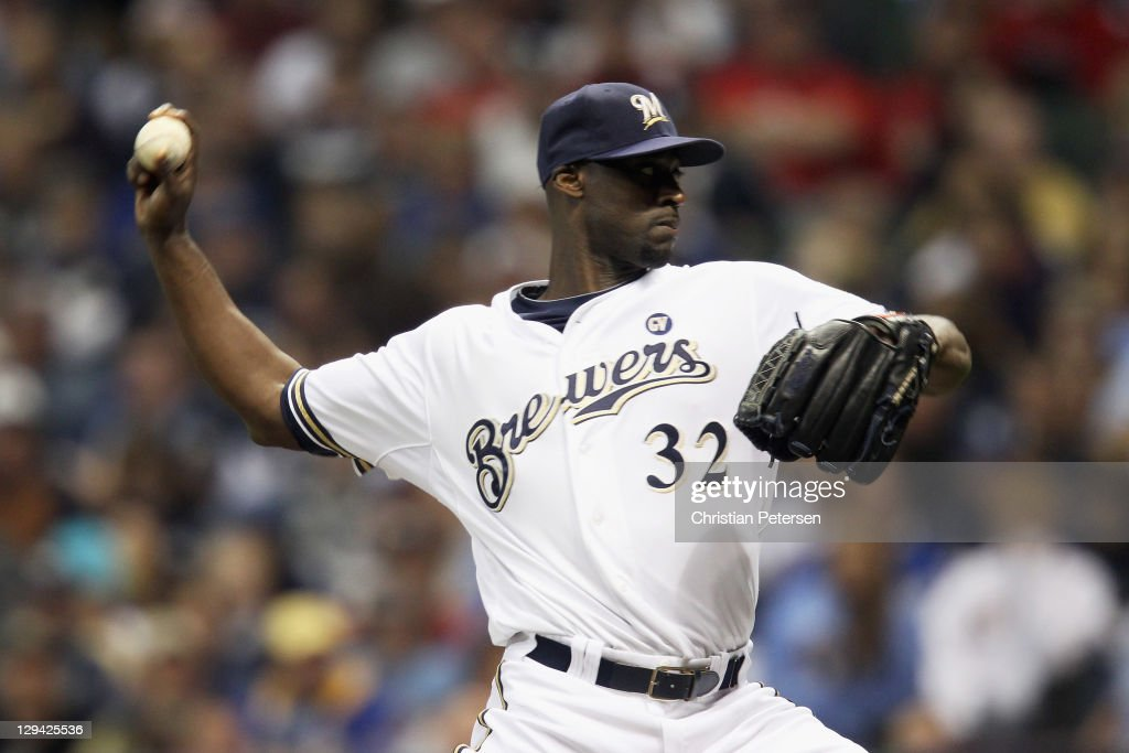 LaTroy Hawkins of the Milwaukee Brewers throws a pitch against the St Louis Cardinals during Game Six of the National League Championship Series at...