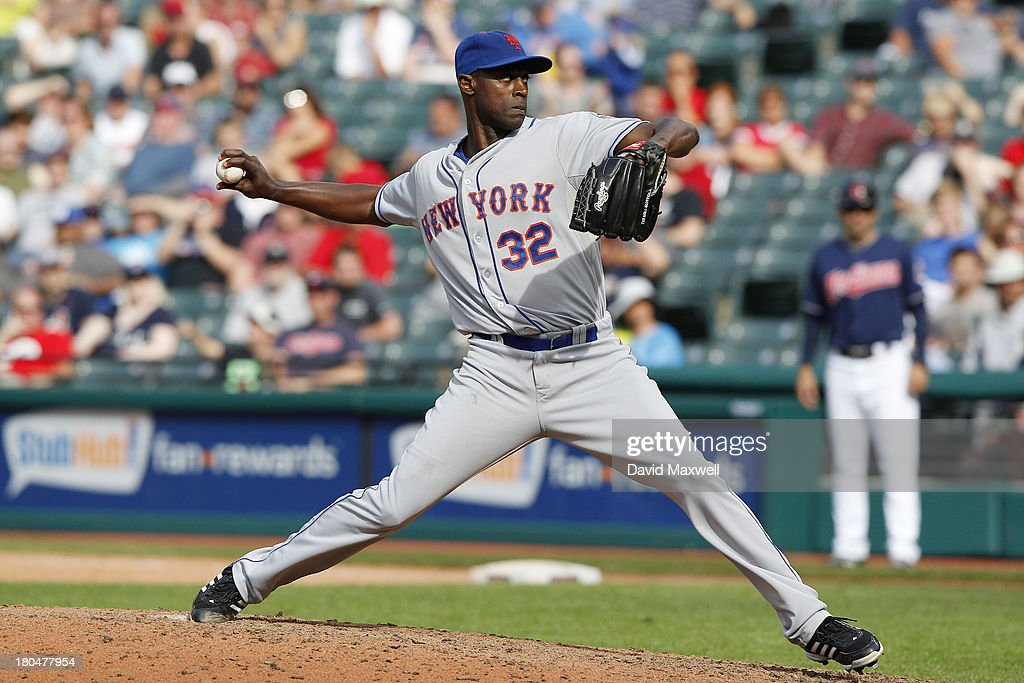 LaTroy Hawkins of the New York Mets pitches against the Cleveland Indians during the ninth inning of their game on September 8 2013 at Progressive...
