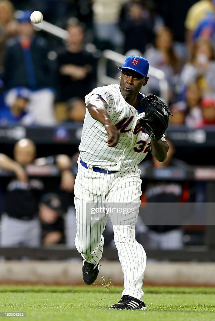 <a gi-track='captionPersonalityLinkClicked' href=/galleries/search?phrase=LaTroy+Hawkins&family=editorial&specificpeople=204722 ng-click='$event.stopPropagation()'>LaTroy Hawkins</a> #32 of the New York Mets sends the ball to first for the final out of the game against the Miami Marlins on August 13, 2013 at Citi Field in the Flushing neighborhood of the Queens borough of New York City. The New York Mets defeated the Miami Marlins 4-3. Logan Morrison of the Marlins was out at first.