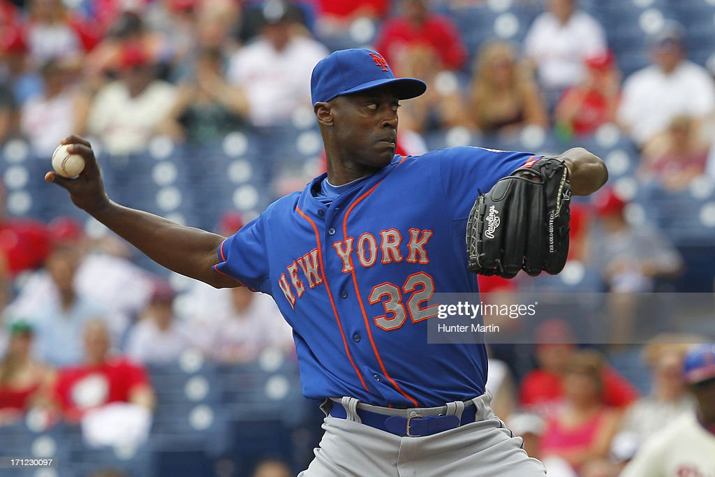 <a gi-track='captionPersonalityLinkClicked' href=/galleries/search?phrase=LaTroy+Hawkins&family=editorial&specificpeople=204722 ng-click='$event.stopPropagation()'>LaTroy Hawkins</a> #32 of the New York Mets throws a pitch during a game against the Philadelphia Phillies at Citizens Bank Park on June 23, 2013 in Philadelphia, Pennsylvania. The Mets won 8-0.