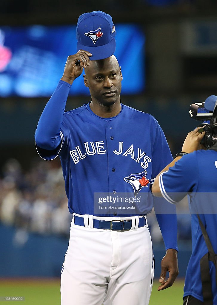 LaTroy Hawkins of the Toronto Blue Jays acknowledges the crowd as he is introduced before the start of the game against the Kansas City Royals during...