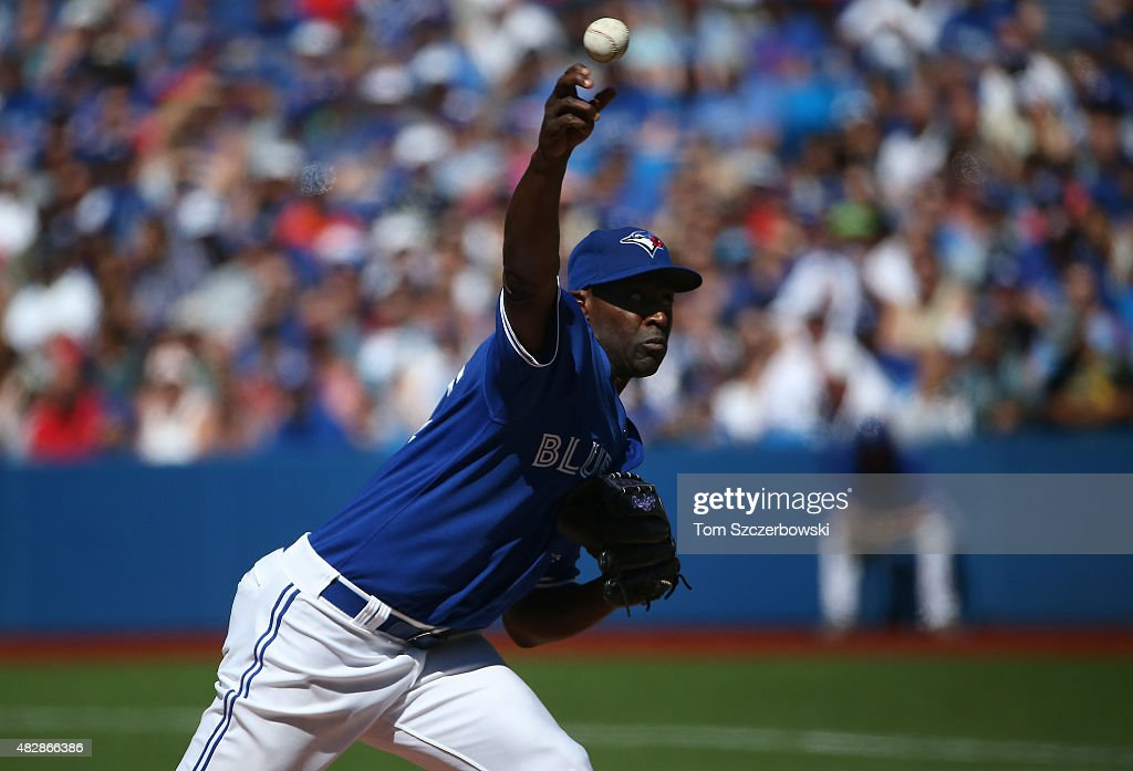 LaTroy Hawkins of the Toronto Blue Jays delivers a pitch in the ninth inning during MLB game action against the Minnesota Twins on August 3 2015 at...