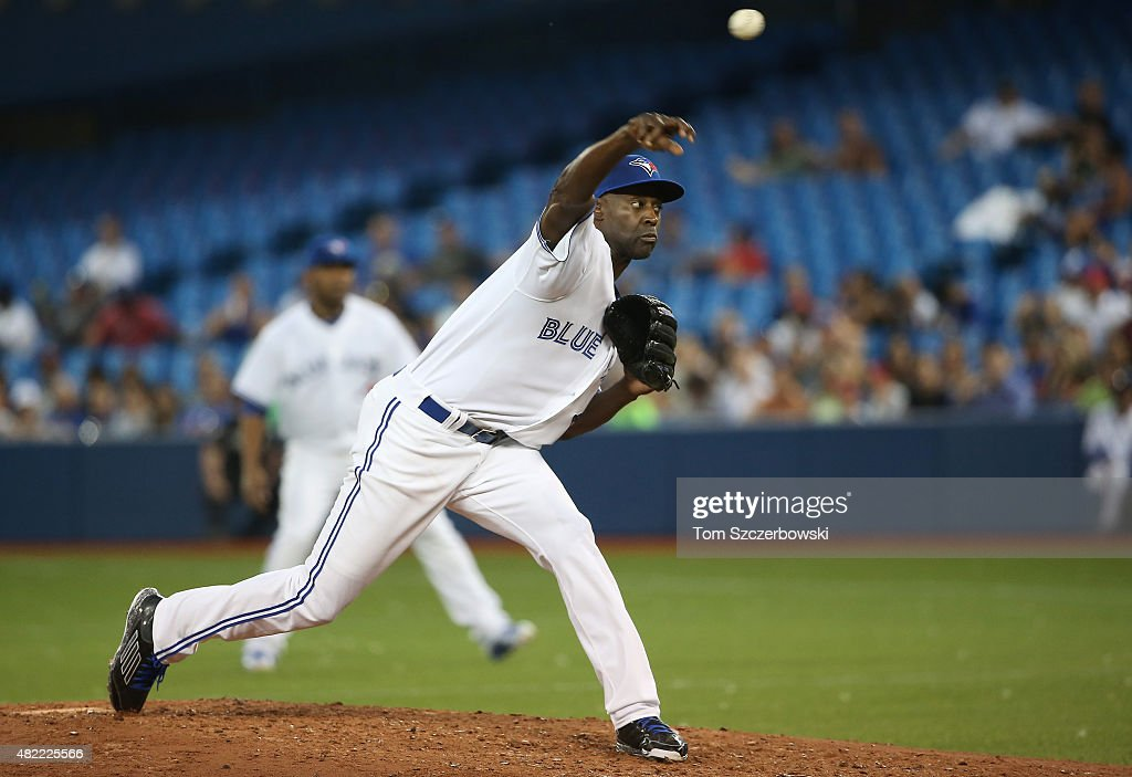 LaTroy Hawkins of the Toronto Blue Jays delivers a pitch in the sixth inning during MLB game action against the Philadelphia Phillies on July 28 2015...