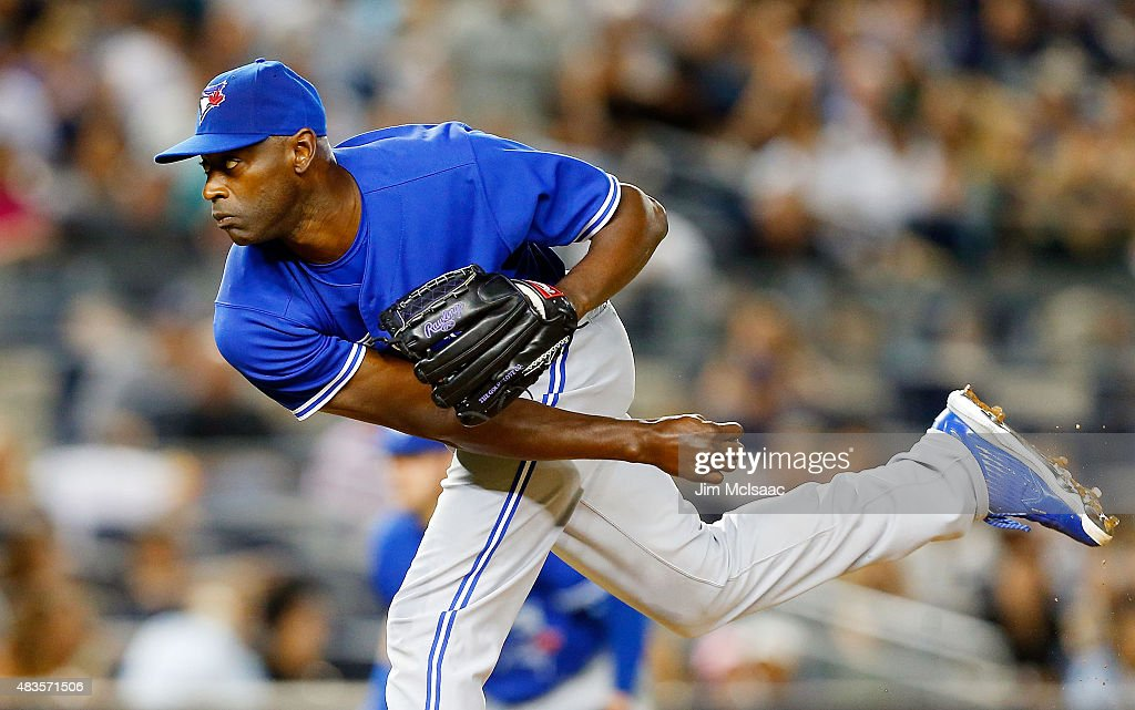 LaTroy Hawkins of the Toronto Blue Jays in action against the New York Yankees at Yankee Stadium on August 7 2015 in the Bronx borough of New York...