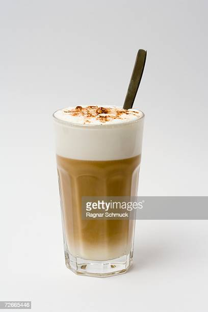 Latte coffee in a glass