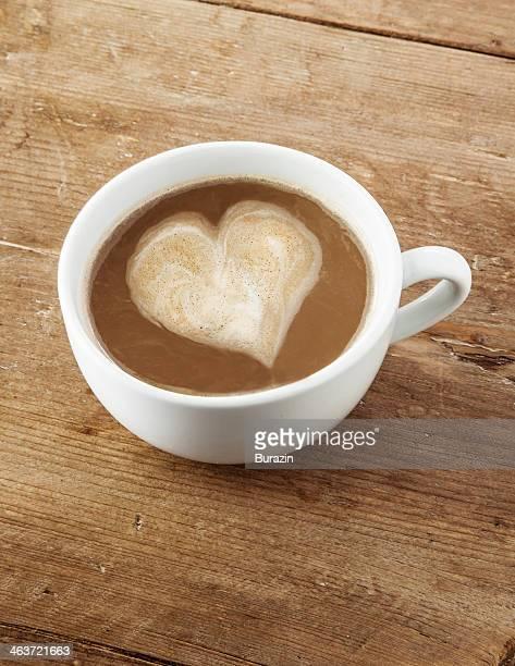Latte with heart shaped foam