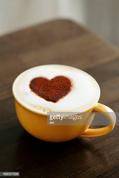 Latte with heart-shaped foam