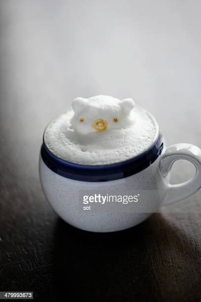 Latte with pig shaped foam
