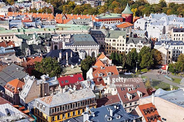Latvia, Riga, City architecture with Powder Tower