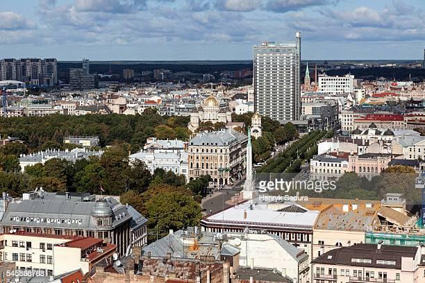 Latvia, Riga, Cityscape with lone skyscraper