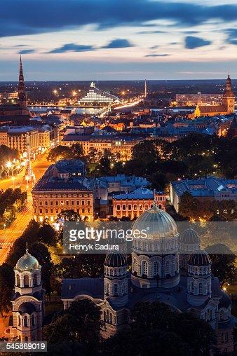 Latvia, Riga, Nativity Cathedral and Riga skyline