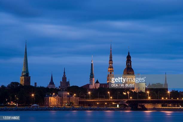 Latvia Vidzeme Region Riga Historic Centre and Western Dvina River Night view