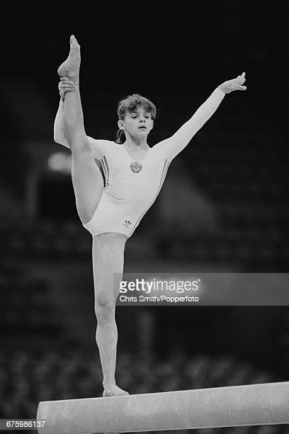 Latvian gymnast Natalia Lashchenova competing for the Soviet Union team pictured in action on the balance beam during practice before competition to...