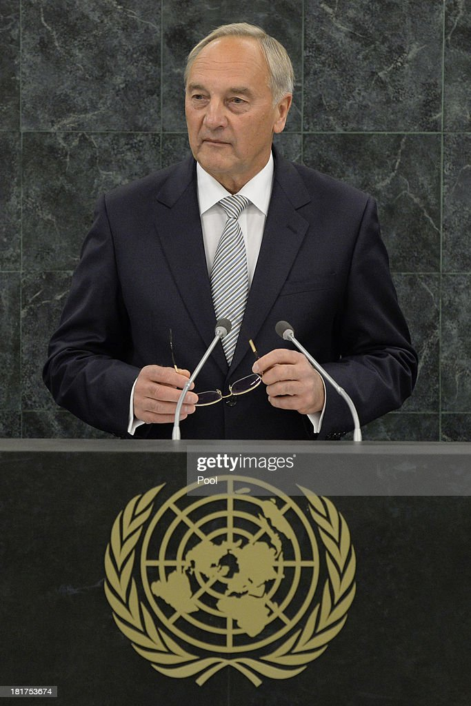 Latvian President Andris Berzins addresses the U.N. General Assembly on September 24, 2013 in New York City. Over 120 prime ministers, presidents and monarchs are gathering this week for the annual meeting at the temporary General Assembly Hall at the U.N. headquarters while the General Assembly Building is closed for renovations.