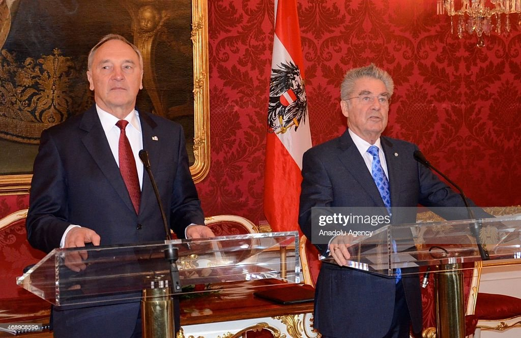 Latvian President Andris Berzins (L) and Austrian President <a gi-track='captionPersonalityLinkClicked' href=/galleries/search?phrase=Heinz+Fischer&family=editorial&specificpeople=537198 ng-click='$event.stopPropagation()'>Heinz Fischer</a> (R) are seen during a joint press conference in Vienna, Austria on April 8, 2015.