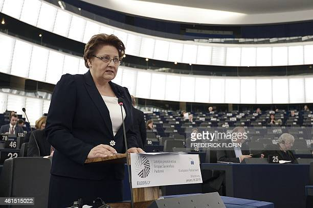 Latvian Prime Minister Laimdota Straujuma presents on January 14 2015 the incoming Latvian EU Presidency's priorities at the European Parliament in...