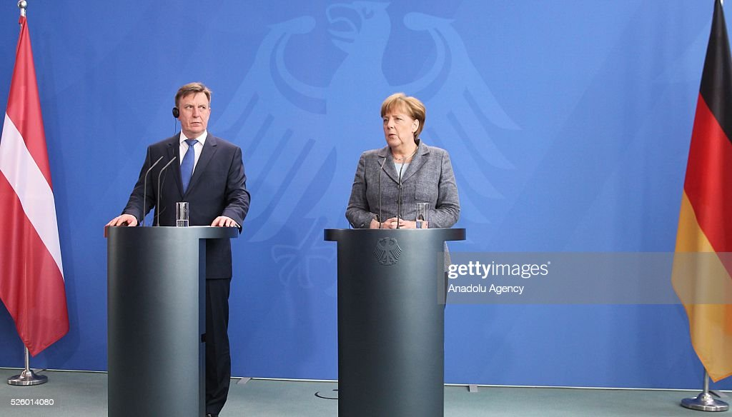 Latvian Prime Minister Maris Kucinskis (L) and German Chancellor Angela Merkel (R) hold a joint press conference after their talks in Berlin, Germany on April 29, 2016.
