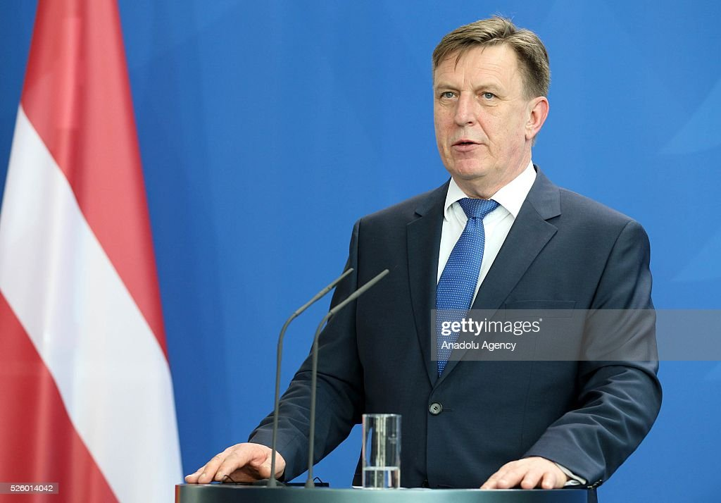 Latvian Prime Minister Maris Kucinskis speaks during a joint press conference with German Chancellor after their talks in Berlin, Germany on April 29, 2016.