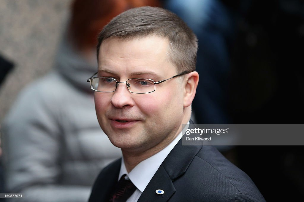 Latvian Prime Minister <a gi-track='captionPersonalityLinkClicked' href=/galleries/search?phrase=Valdis+Dombrovskis&family=editorial&specificpeople=5732119 ng-click='$event.stopPropagation()'>Valdis Dombrovskis</a> arrives for the start of the European Council Meeting on February 7, 2013 in Brussels, Belgium. The President of the European Council, Herman Van Rompuy has announced that he will aim to reach an agreement on the EU's 2014-2020 budget during the two-day summit, which takes place on February 7 and 8. Cameron is expected to demand further cuts or a freeze to EU spending to reflect the national austerity measures implemented across Europe, amid stiff opposition from EU funded countries.