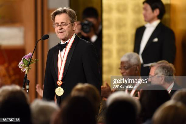 Latvianborn dancer and choreographer Mikhail Baryshnikov delivers a speech during the awards ceremony of the 29th Praemium Imperiale in Tokyo on...