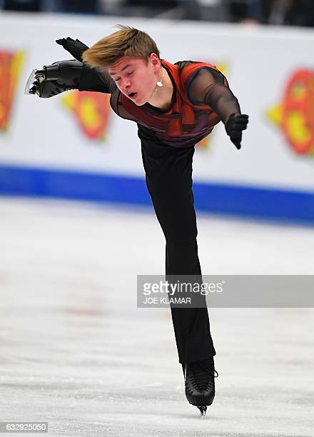 Latvia's Deniss Vasiljevs competes during the men's free skating competition of the European Figure Skating Championship in Ostrava Czech Republic on...