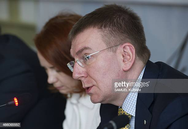Latvia's Foreign Minister Edgars Rinkevics attends a press conference during a meeting of foreign ministers of the Visegrad Group and the...