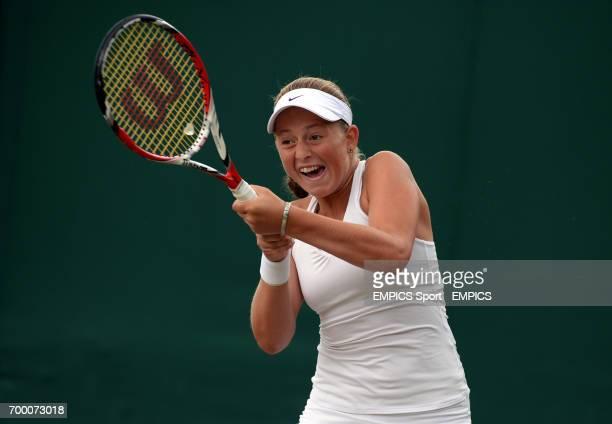Latvia's Jelena Ostapenko in action against Czech Republic's Marketa Vondrousova in the girls singles