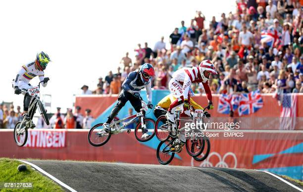 Latvia's Maris Stromsbergs on his way winning gold in the mens BMX final