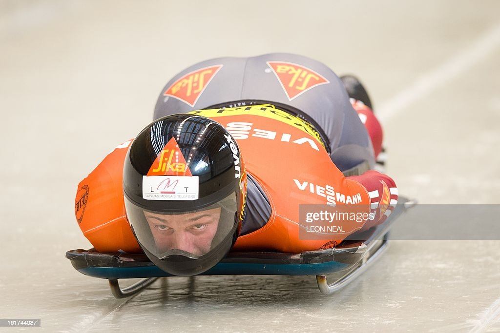 Latvia's Martins Dukurs takes part in the first run of the FIBT Bob and Skeleton World Cup 2012/13 at the Sanki Sliding Centre, some 50 km from Russia's Black Sea resort of Sochi, on February 15, 2013. Dukurs went on to win the FIBT Skeleton World Cup 2012/13 after a successful second run. With a year to go until the Sochi 2014 Winter Games, construction work continues as test events and World Championship competitions are underway.