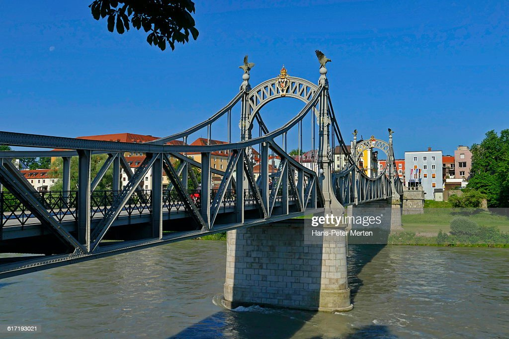 Laufen, Salzach river, Salzach Bridge, Bavaria : Stock Photo