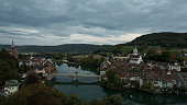 the historic old town from Laufenburg at twilight view from the german side to switzerland side