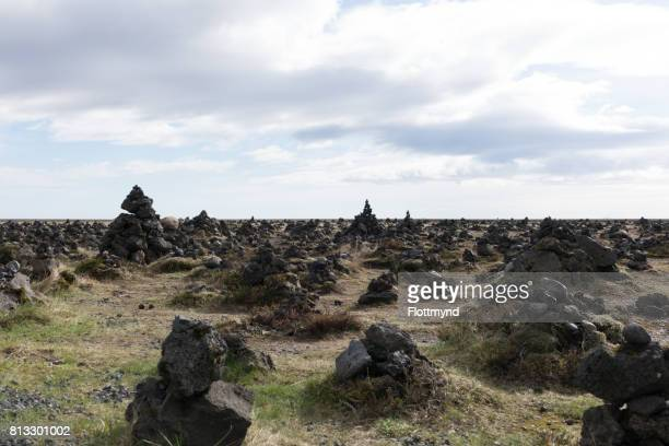Laufskalavarda is a lava ridge, surrounded by stone cairns