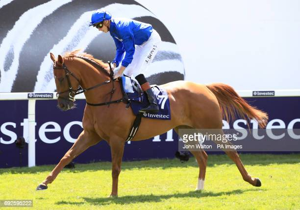 Laugh Aloud ridden by Jockey James Doyle prior to the Princess Elizabeth Stakes