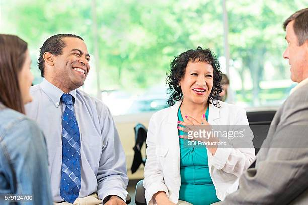 Laughing African American Man and Hispanic Woman