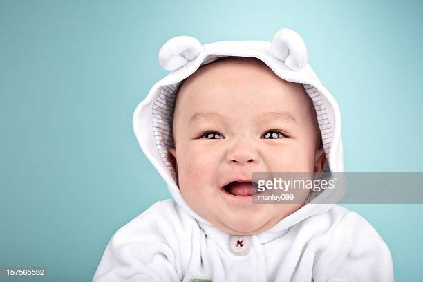 Rire de bébé avec ours veste asiatique