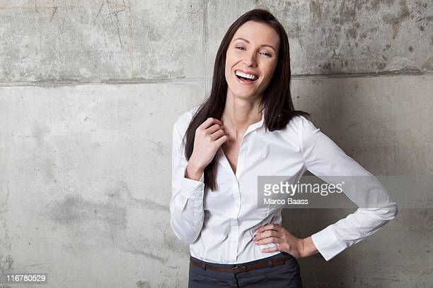 A laughing businesswoman