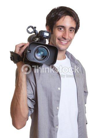 Laughing cameraman : Stock Photo
