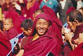 A laughing Lama at Boudhanath in Kathmandu Bordering Tibet and for desperate Tibetan refugees walking distance Nepal and more particularly Kathmandu...