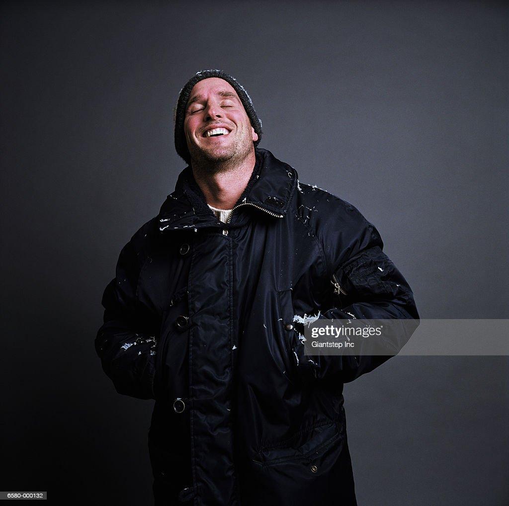 Laughing man Wearing Coat : Stock Photo