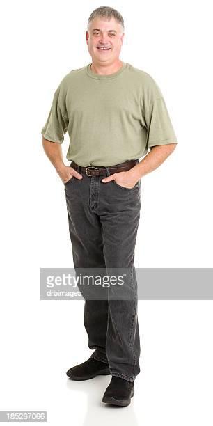 Lachen Reifer Mann stehend