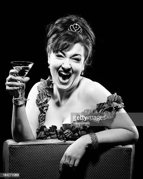Rire rétro Femme buvant Cocktail