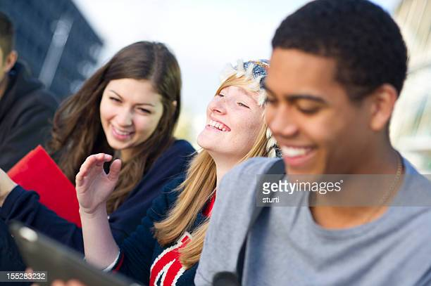 laughing teens