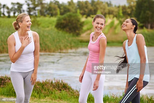Laughing with the yoga ladies