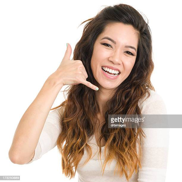 Laughing Woman Call Me Gesture