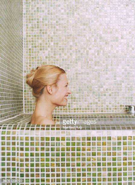 Laughing Woman in Bathtub