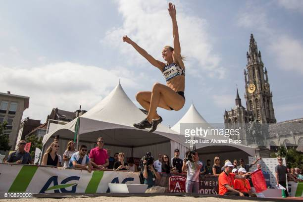 Lauma Griva of Latvia competes in the women Long Jump during the Urban Memorial Van Damme on July 08 2017 in Antwerp Belgium