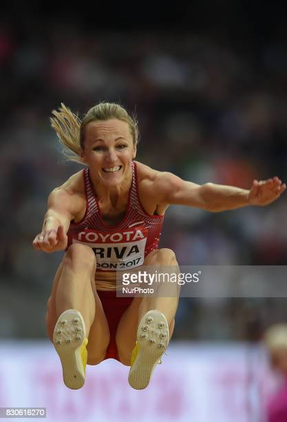 Lauma Grva of Latvia jumps in the long jump final in London at the 2017 IAAF World Championships athletics at the London Stadium in London on August...