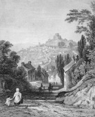 Launceston Cornwall circa 1800 Engraved by W S Wilkie after T Allom